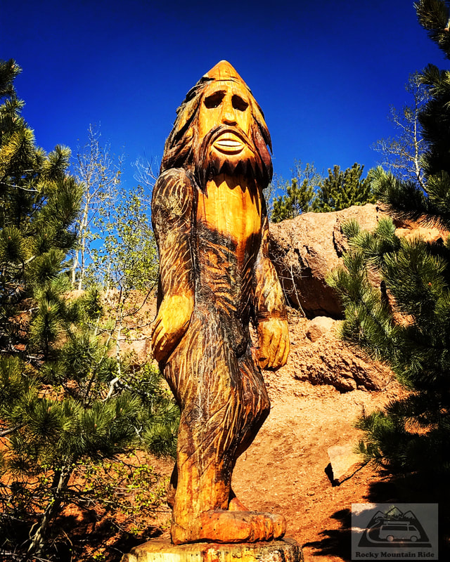 Sasquatch statue at Crystal Reservoir, Pikes Peak Highway